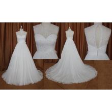 Robe de mariée en mousseline de soie perlée sans manches de haute qualité