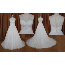 High Quality Sleeveless Lace Beaded Chiffon Wedding Dress