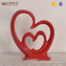 Art decorative craft gift resin double heart sculpture for wedding souvenirs