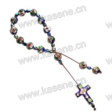 Fashion Cloisonne Cord Bracelet with Cloisonne Cross