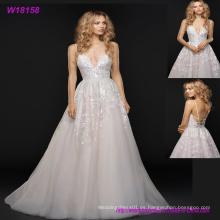 Vestido de boda nupcial del amor del Applique del cordón de 2017 bling