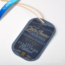 Etiqueta colgante de papel impresa en oro caliente para etiqueta colgante de ropa