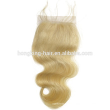 Hot seller popular blonde silk base closure body wave lace closure