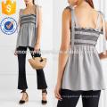 Черный и белый полосатый вуаль гофрированная Верхняя Производство Оптовая продажа женской одежды (TA4142B)