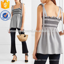 Black&White Shirred Striped Voile Top Manufacture Wholesale Fashion Women Apparel (TA4142B)
