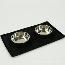 Silikon-Hund Pet zwei Schüssel mit 2 Edelstahl Pet Bowls Hundefutter Mat Schüssel