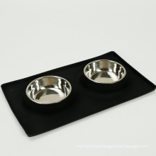 Silicone Dog Pet Two Bowl With 2 Stainless Pet Bowls Dog Food Mat Bowl