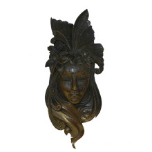 Máscara de la estatua de bronce de Relife Relievo Escultura de bronce de la pared Deco Tpy-883
