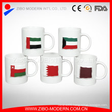 Custom Color Glazed Banner Ceramic Embossed Cup, 320ml Ceramic Cup for Beverage