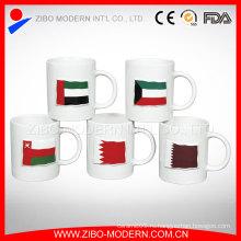 Пользовательские цвета застекленный баннер Керамический тиснением Кубок, 320 мл Керамическая чашка для напитков