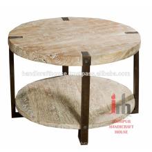 Industrial Antique Holz 2 Ebenen Runde kleine Couchtisch