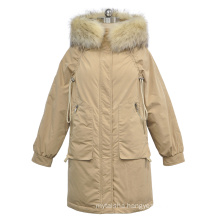 Women's 100% polyester warm solid down coat with real raccoon fur hood