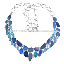 Natural Doublet Opal Gemstone & Sterling Silver Handmade Necklace for Wedding & Party