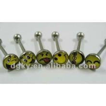 Mode lächelndes Gesicht Logo barbell Zunge Ring