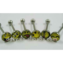 Fashion smile face Logo barbell langue ring