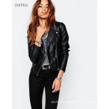 Back Color Leather PU Women Bike Jacket