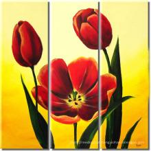 Arte moderna da parede Pintura a óleo vermelha fresca da flor