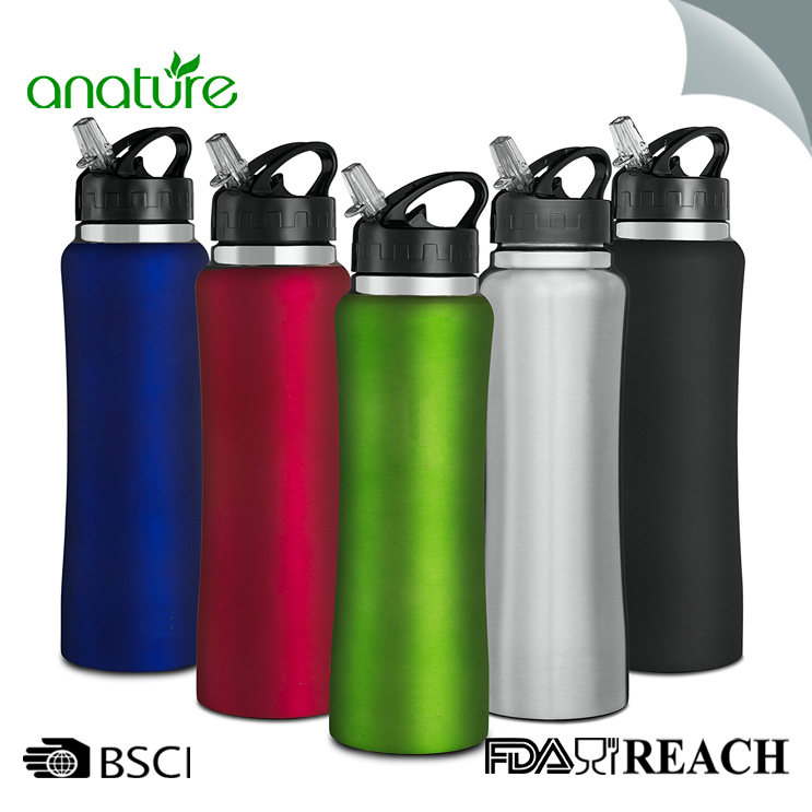 750ML Sport Single Wall Water Bottle With Straw Lid