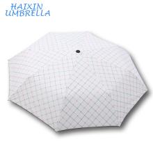 Door Gift Best Wedding New York New Fashion Umbrellars Europe White Classic Plaid Vogue Check 3 Fold Umbrella Manufacturer China