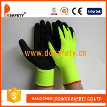 Guante de acrílico amarillo fluorescente / alto visible de calibre 13 con revestimiento completo-Dnl733