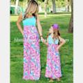 2017 мода новая деталь мать и дочь платье дизайн милая мама и я макси платье