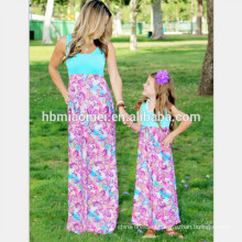 2017 Fashion new detail mother and daughter dress design cute mommy and me maxi dress