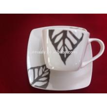 Jogos de xícara e pires de café em cerâmica com logotipo