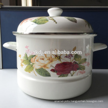 china supplier fashion custom logo enamel metal steamer pot