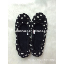 Lady indoor ballerina slippers with dots printing indoor slipper
