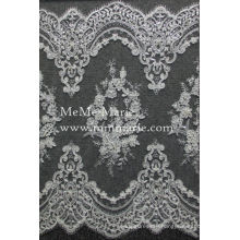 Balanced Lace Fabric Knitted Lace Trim with Pearls & Sequins CTC069-1B