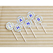 Wedding decoration light blue stripe dark blue letter pattern round shaped paper cake topper