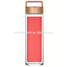 Hot New Products Christmas Gift BPA Free Wide Mouth Borosilicate Glass Clear Water Bottle With Carry Rose Gold Lid