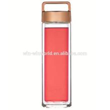 Hot New Products Presente de Natal BPA Livre de Boca Larga De Vidro Borosilicato Clara Garrafa De Água Com Carry Rose Gold Lid