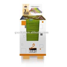 Gancho de roupa de madeira com embalagem de exibição de cor 4 dentro