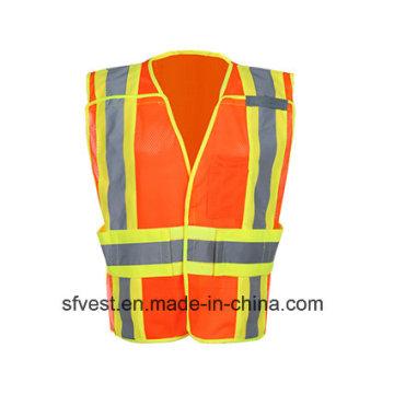 Colete de segurança reflexivo para vestuário de trabalho de alta visibilidade