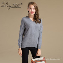 Oem Service V Neck Loose Type Women Wool Knitted Sweater From Manufactured In China