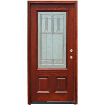3/4 Lite Stained Mahogany Wood Prehung Front Door