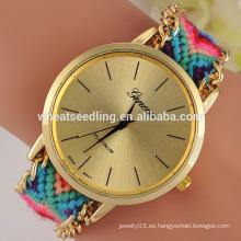 Reloj de Ginebra de la tela de la venta del diseño nuevo de 8 colores