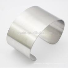 Unisex Wide aço inoxidável Plain Cuff pulseira em branco