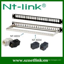 24 ports Câblage modulaire de 19 pouces Cat6 STP déchargé panneau de patch