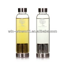 Screw Cap Pyrex Glass Transparent Glass Water Bottle With Infuser