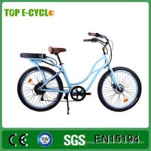 TOP / OEM 26 '48 V 500 W CE Ladies Beach Cruiser Bicicleta Eléctrica / Bicicleta Eléctrica de la Ciudad Barata