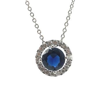 Blue Stone Round Circle 925 Silver Pendant