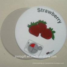 Coaster do PVC da forma redonda Placemat redondo redondo do copo do PVC da morango