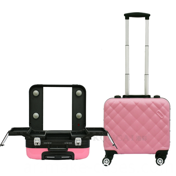 makeup train case with light
