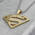 18K Gold Plated Stainless Steel Superman Letter S Pendants necklace