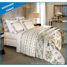 Patrón de flores de marfil impreso funda de edredón de poliéster ropa de cama