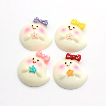 Kawaii Home Decoration 3D Cute Happy Face Baby Bow Figurine Flat Back Planar Resin Craft DIY hair Bow Jewelry Accesorios