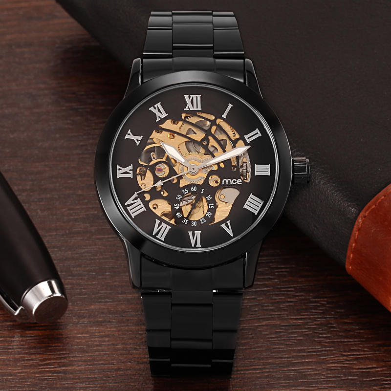 Black Stainless Steel Strap Skeleton Watch For Men