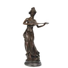 Musique Décor En Laiton Statue Fée Sculpture Bronze Sculpture Tpy-957